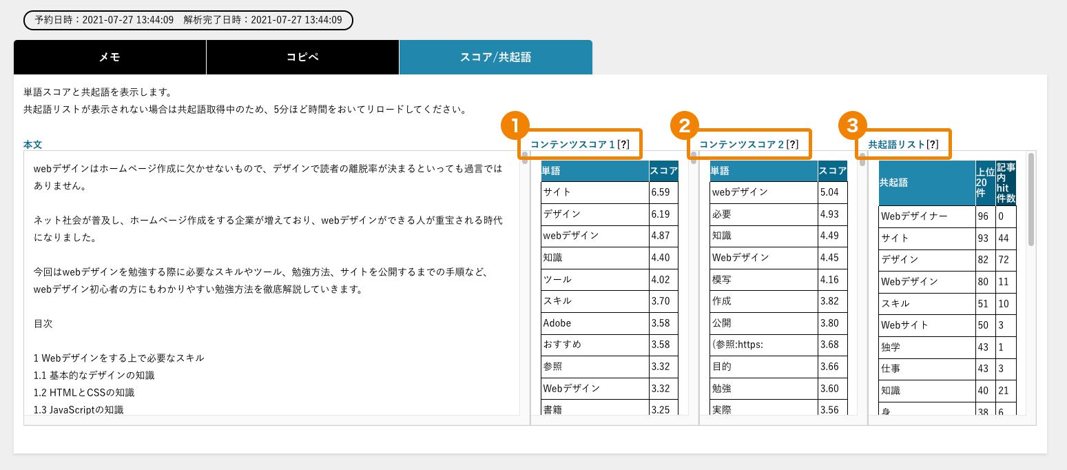 コンテンツドクターのキーワード出現率チェック結果画面